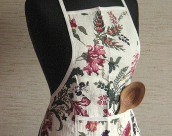 Linen Kitchen Utility Apron Valentines Day Easter Mother's Day Gift Easter Apron Gardening Aprons Teachers Apron Flowers Flower