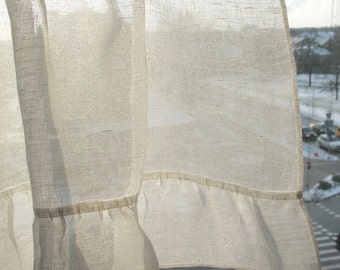 Ruffled Curtains Cafe Curtains Washed Linen Curtains Kitchen Curtains Shabby Chic Curtains Panels