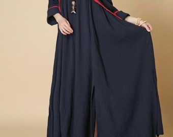 dark blue pullover cotton long dress Loose Long sleeved oversized dress/ wine red