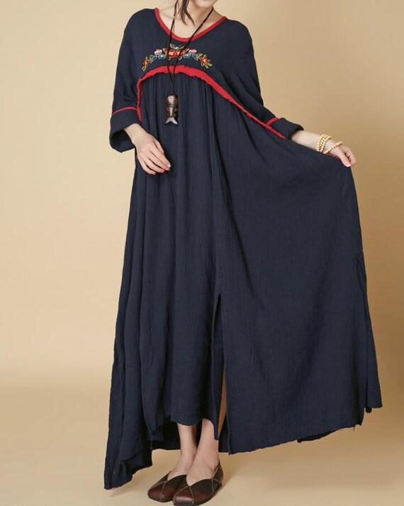 Spring pullover cotton long dress Loose Long sleeved oversized dress/ wine red/ dark blue
