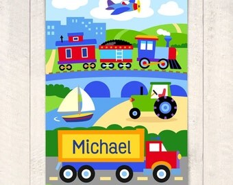 Kids Personalized Trains, Planes, Trucks Unframed Art Print, Vehicle Art Print, Trucks Unframed Print, Coordinates with Olive Kids Bedding