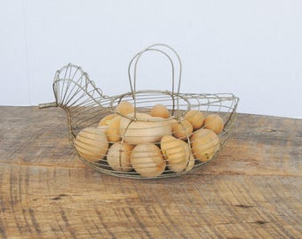Vintage Wire Chicken Shaped Basket with Wooden Eggs