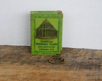 Vintage Buffalo Savings Bank Book Type Coin Money Bank With Key Lessons In Thrift Green