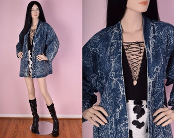 80s Acid Wash Denim Jacket/ Large/ 1980s