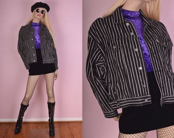 90s Black and White Striped Denim Jacket/ Small-Medium/ 1990s