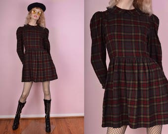 90s Plaid Babydoll Dress/ Medium/ 1990s/ Mini/ Long Sleeve