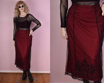 90s Red and Black Mesh Skirt/ Large/ 30-34 Waist/ 1990s