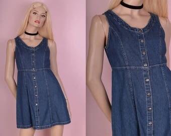 90s Button Down Denim Mini Dress/ US 2/ 1990s