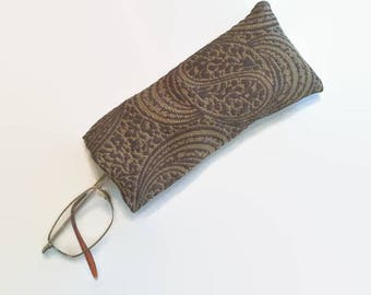 Brown and Gold Swirl Pattern Upcycled Soft Eyeglass Case Sunglasses Holder