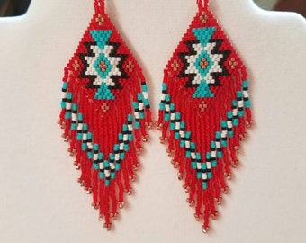 Native American Style Beaded Rug Earrings Black, White, Red and Turquoise Boho, Southwestern, Hippie Geometric, Brick Stitch Great Gift