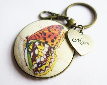 Butterfly key ring bag charm or pendant necklace. MiniArt wearable gift. With filigree vein leaf, and Mum heart or choose.