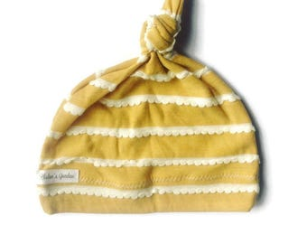 Jersey knit baby knotted hat/infant/knot hat/beanie/mustard yellow