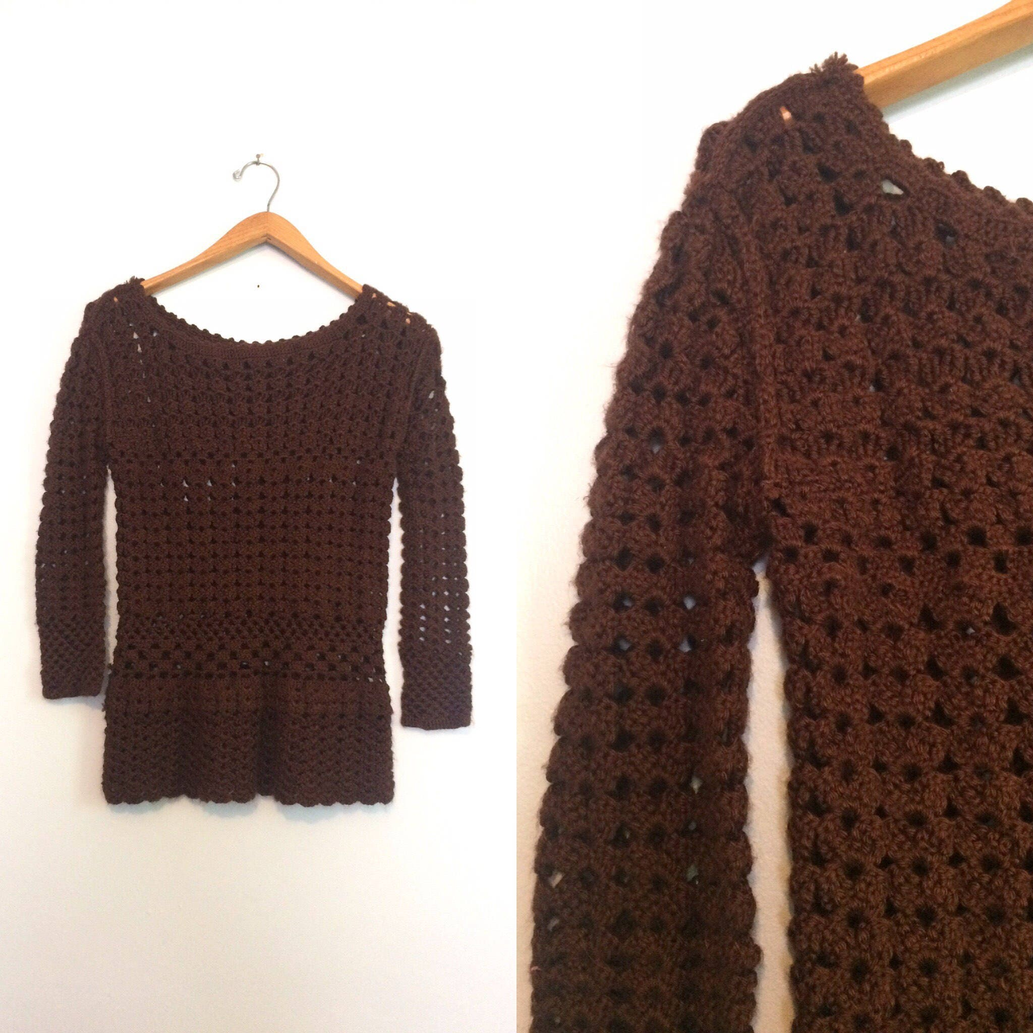 Vintage Brown Crochet Sweater / Loose Knit Boho Pullover
