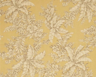 """Two 96"""" L Custom Lined Curtain Panels with Pinch Pleats - Large Floral - Yellow Cream Brown"""