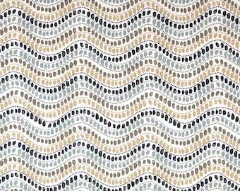 "Two 96"" x 50""  Custom Curtain Panels  -  Waves Zig Zag - Indigo Blue Teal Camel Tan Taupe"