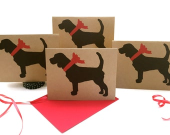 Beagle Card Set % to ANIMAL RESCUE ECO Friendly Pack Blank Cards Holiday Thank You Birthday Christmas Gift Wrap, Red, Blue, dog pet sympathy