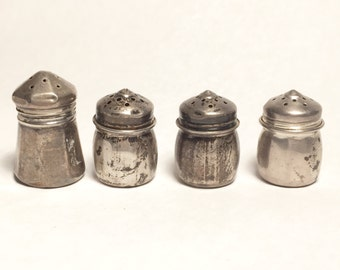 Lot of Antique Sterling Salt and Pepper Shakers 4