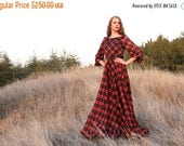 Mid season SALE Red/Purple plaid tartan print Maxi chiffon dress