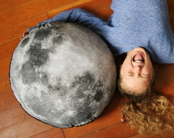 "Large 22"" Moon Pillow - Organic Cotton and Linen Home Decor Moon Pillow, Bedding, Phases of the Moon, Full Moon Pillow, Home Decor"