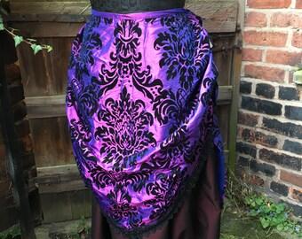 "Purple flock taffeta bustle skirt (waist 46"")"