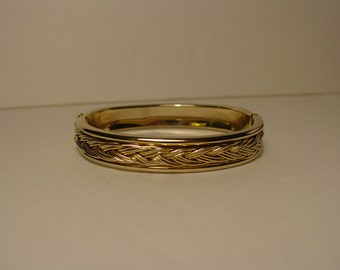 Gold Tone Woven Braid Bangle Bracelet