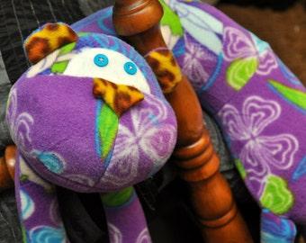 Purple Tinkerbell Fleece Monkey Neck Pillow, Critter Pillow, Kids Pillow