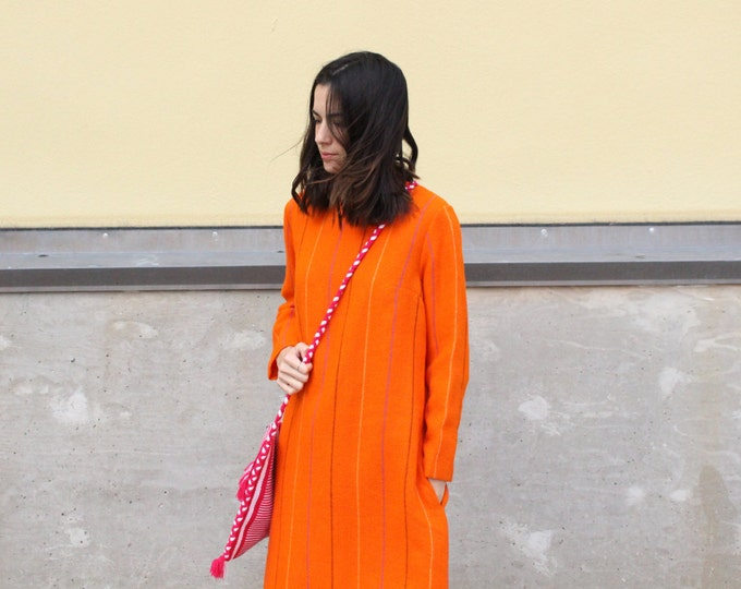 60s orange vintage swedish mod wool striped retro dress