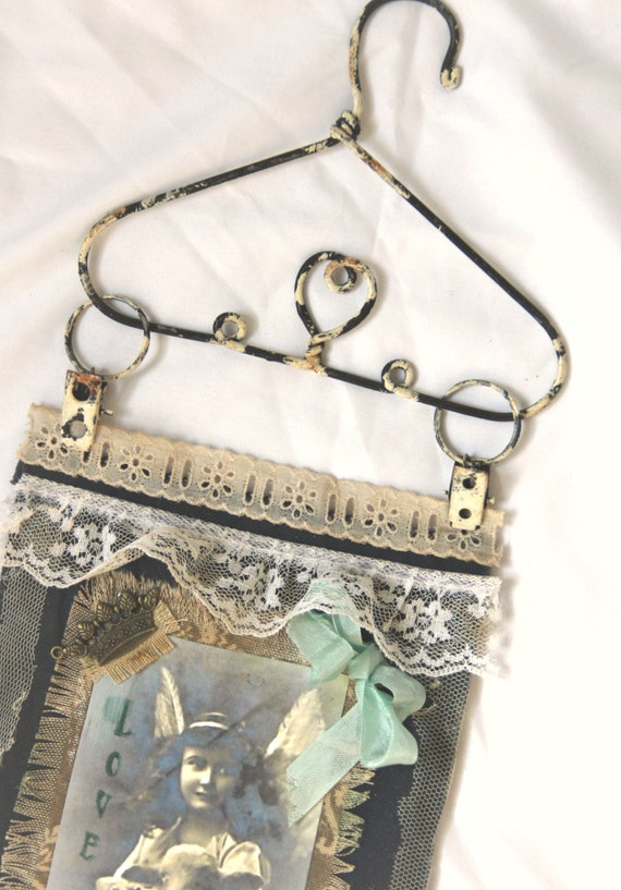 FABULOUS art deco *JESUS* CraftEcafe HANDMADE wall hanging Religious Gift Mixed Media Collage Art  By Khatsart