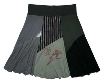 Love in Chinese T-Shirt Skirt Women's Large XL Boho Skirt Hippie Skirt 12 14 upcycled clothing repurposed skirt Twinkle Skirts Twinklewear