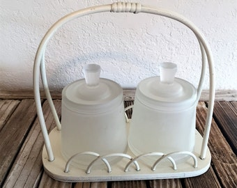 Vintage White Basket Tote and Frosted Glass Canisters