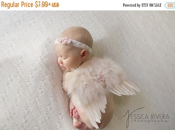 20% OFF SALE Vintage Blush Angel Baby Wings and/or Matching Vintage Lace Headband, for a teenie infant, photo shoot, baby photo, by Lil Miss