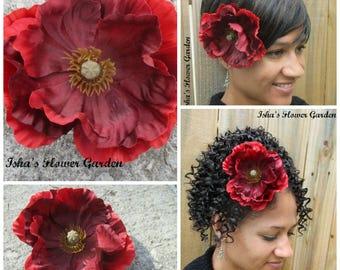 Red Poppy hair flower clip, red hair accessories, dark red hair flower, poppy hair flower