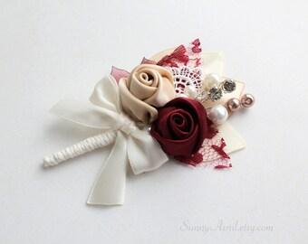 Burgundy Champagne Ivory Rosettes Boutonniere/ Wedding Lapel Pin/ Handmade Wedding Accessory
