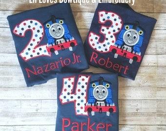 Thomas shirt, Thomas the train shirt, train birthday shirt, birthday shirt, embroidered shirt, personalized gift, Thomas the train, Thomas