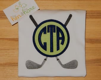 Golf Club monogram patch personalized customized shirt onesie choose colors birthday gift present embroidered monogrammed applique