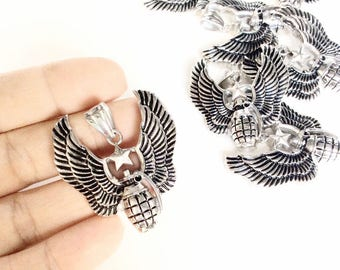 8pc granate with wings pendants stainless steel pendants metal lot destash