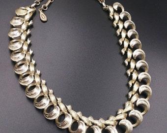 Vintage Pale Gold Tone Choker, Looped Metal Necklace, Designer Signed Lisner Choker,  Adjustable Length Necklace