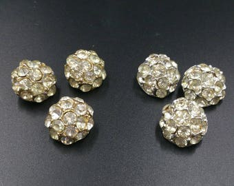 Vintage Rhinestone Cluster Buttons with Loop Shank 6 Buttons 2 Matching Sets