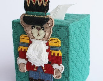 Toy soldier bear tissue box cover or Bank Plastic canvas