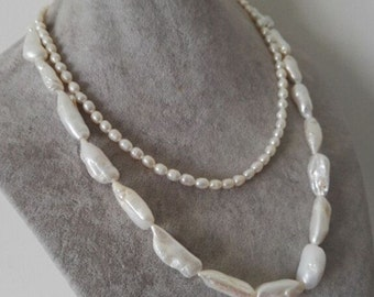 Pearl Necklace- 2 strings 17-20 inch white baroque freshwater pearl necklace