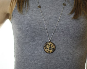 Black Damask Wood Pendant Necklace // Silver Plated Long Chain // Gift for Her