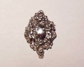 SALE Vintage Sterling Silver Art Nouveau Repousse SUE Engraved Large Angel Pierced Pin