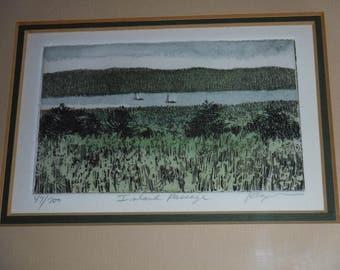 Frank Kaczmarek Inland Passage Original Hand Colored Etching 47/200