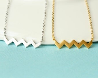 Zigzag Bar Necklace, Available in Gold and Silver