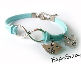 2 Initials Personalized Infinity & Birds Suede Leather Bracelet / Best Friend / BFF / Sisters Gift / Custom Color / Hand Stamped Letters