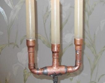 oak and copper candelabra