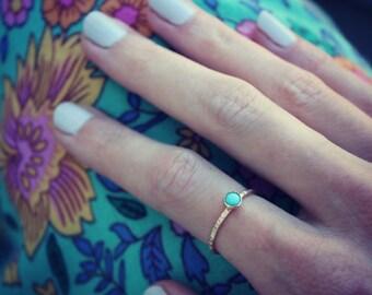 Gold turquoise stacking ring, ring, 14k gold filled ring, turquoise ring, stacking ring, midi ring, stackable ring
