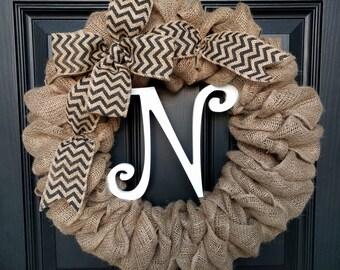 Burlap Wreath with Black Chevron Burlap Bow and Monogram- Front Door Wreath- Monogram Wreath-Decoration-Gift