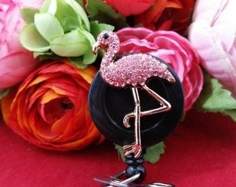 Funky Flingo the Flamingo on Alligator Clip or Slide on Clip ID Reel