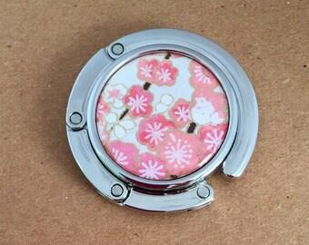 Foldable PURSE HOOK Portable handbag hanger Resin or Glass sealed beautiful Japanese chiyogami paper w gift envelope